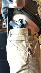Kydex Concealed Carry Holster: Alien Gear Cloak Tuck 3.0 IWB Holster Review-Alien Gear Holster properly secured to gun belt.