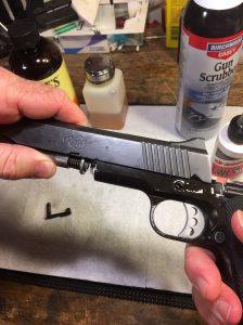 Aligning slide with the frame of Kimber 1911