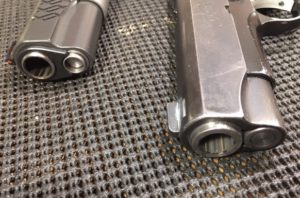 Kimber Pro Carry II Disassembly- 1911 Barrel Bushing on Left Bull Barrel on Right