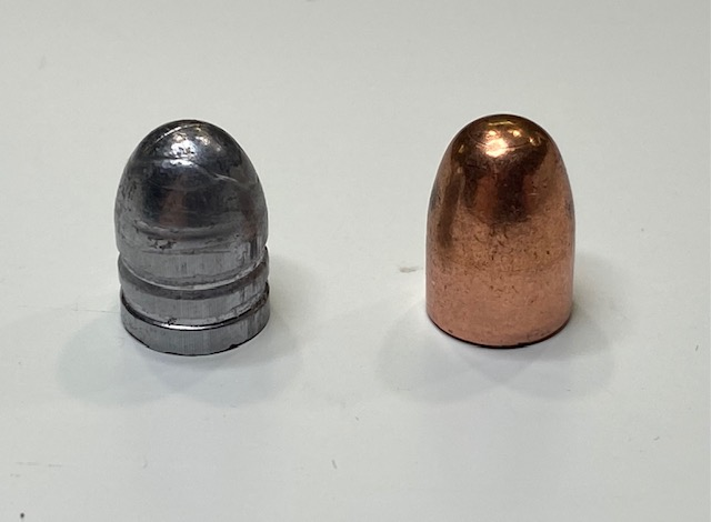Left: Lead cast bullet. Right: Copper Jacketed bullet